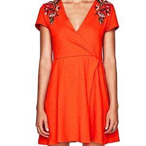 Zara Knit Embroidered Mini Dress